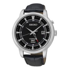 Seiko Kinetic GMT SUN033 P2 Black Dial Leather Automatic Men's Analog Watch