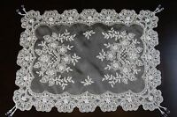 White Ivory Handmade Beaded Pearl Sheer Victorian Wedding Table Runner Placemats