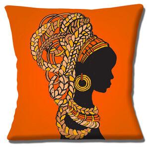 "African Tribal Lady 16""x16"" 40cm Cushion Cover Orange Yellow Brown Ethnic Design"