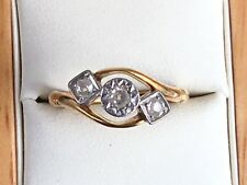 Super Art Deco Style 18ct Gold 3 Stone Diamond Ring, 1930/40's -Size P