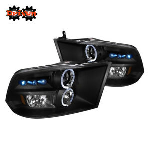 09-18 Dodge Ram 1500/2500/35 Black Housing Headlights w/Dual Halo LED Projector