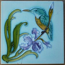 BIRD ANTIQUE MAJOLICA TILE - BELGIUM HEMIXEN C1900 (RESTORED)