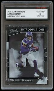 JUSTIN JEFFERSON 2020 PANINI ABSOLUTE INTRODUCTIONS 1ST GRADED 10 ROOKIE CARD
