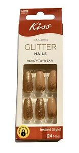 Kiss Long Length Light Brown & Copper Micro Glitter Nails DBGN03 Tweet Emoti
