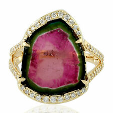 Natural Watermelon Tourmaline Ring Pave Diamond 18k Yellow Gold Gemstone Jewelry