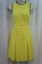 Calvin Klein Dress Sz 2 Citron Black Textured Piped Pleated Cocktail Party Dress