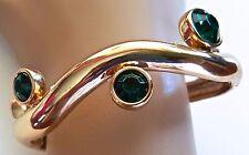 New KENNETH JAY LANE KJL Shiny Gold Emerald Green CUFF BRACELET Bangle Signed