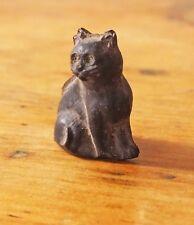 Vintage Victorian Czech glass lucky black cat charm cracker frosted satin