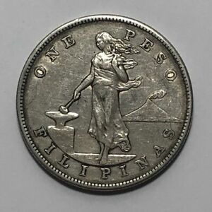 1905-S Silver One Peso Philippines US Administration ~ EF Extra Fine XF