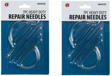 2 Pack 7pc Repair Sewing Needles Kit Curved Canvas Leather Upholstery Heavy Duty