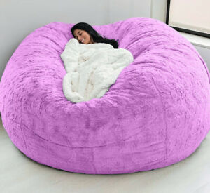 Microsuede 7ft Foam Giant Bean Bag Cover Living Room Chair Lazy Sofa Soft Cover