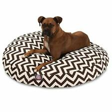 Chocolate Chevron Large Round Indoor Outdoor Pet Dog Bed With Removable Washa.
