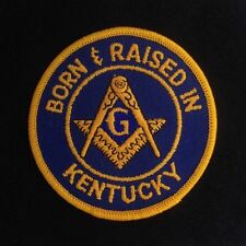 """Masonic """"Born & Raised In KY"""" Embroidered Emblem Patch - Style 2 (BRKY-2)"""