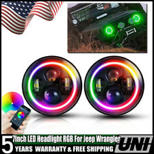 "7"" LED RGB Halo Multi-Color Headlights Fog Light for Jeep Wrangler JK 2007-2018"