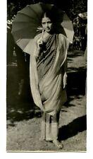 Lovely Young Woman-Sari Dress-Sun Umbrella-Parasol-1948 Vintage Photograph