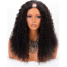 Virgin Brazilian Remy Middle U Part Wig Kinky Curly Glueless Human Hair Wigs 18""