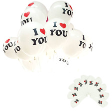 "10 PACK - 12 Inch (30cm) Latex Balloons - Pearl White - ""I Heart You"""