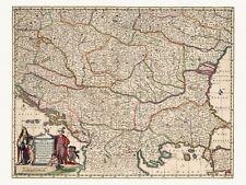 Old Antique Decorative Map of Bulgaria Romania Hungary de Wit ca. 1682