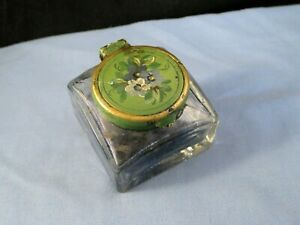 FOLK ART ANTIQUE DESKTOP ENAMEL PAINTED BRASS & GLASS SQUARE INKWELL CALLIGRAPHY