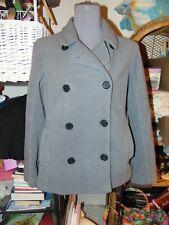 LANDS END GRAY PEA COAT MEDIUM 10 / 12 Soft Fleece Jacket MACHINE WASHABLE M P