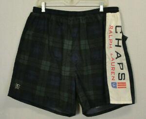 Vtg New Chaps Ralph Lauren Swimwear Swim Shorts Trunks Spellout Plaid Mens XL