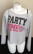 "FANG ""Party Time"" Gray Studded Heart Long Sleeve Shirt Top Size Medium NWT"