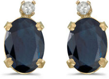 14k Yellow Gold Oval Sapphire And Diamond Earrings (CM-E6411X-09)