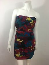 Charlotte Russe Ruched Strapless Bodycon Dress L Jewel Multi Color Chiffon Lined