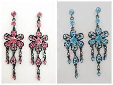"Chic Cute Black Alloy Floral Rhinestone 4 1/4"" Long Chandelier Party Earring"