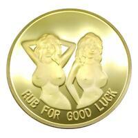Golden Alloy Plated Sexy Woman Lucky Bitcoin Commemorative Coin Souvenir Gifts