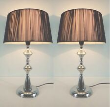 Pair of New Modern Designer Style Bedside table Lamp with Black String Shade