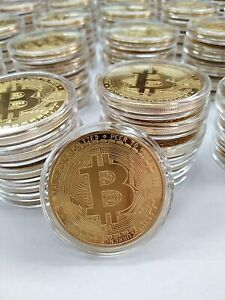 BitCoin - BTC - Crypto - CryptoCurrency - Physical Gold Plated Coin - 2021!