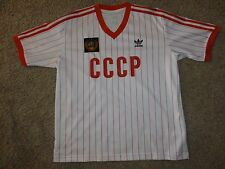 Mens ADIDAS CCCP SOCCER RED STRIPED JERSEY USSR RUSSIA LARGE RARE! RARE! RARE!