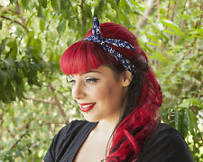 Navy with Peace Hairband Retro 50's Rockabilly hair tie W/ small end