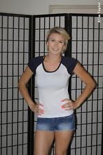Aspire baseball style cap sleeve t shirt - white / blue - women's small