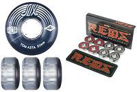 Ricta Skateboard Wheels Crystal Slix Asta 51mm Clear + Bones Reds Bearings