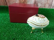 vintage hand decorated duck egg, Jewelry Box  in original Case