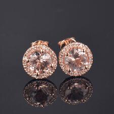 Natural Pink Morganite Diamond Halo Earring Basket Stud Screw Back 14K Rose Gold