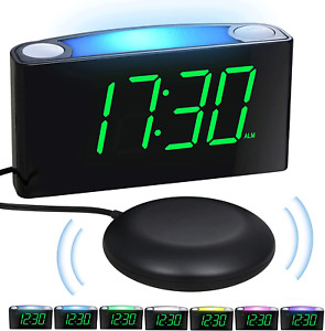 Vibrationswecker für Gehörlose&tiefschläfer, Wecker mit Lautem Alarm,Bett-Shaker