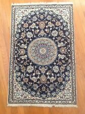 Authentic Persian Oriental Rug Hand Woven Floral Blue 3' X 5' Nain Isfahan NICE!
