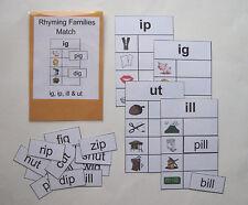 Teacher Made Literacy Center Resource Game Rhyming Families ig, ip, ill & ut