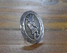 Vintage Navajo Kokopelli Kachina Overlay Sterling Silver Ring Size 8 1/2