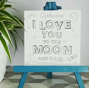 PERSONALISED Handmade I Love You to The Moon and back Valentine Anniversary Card