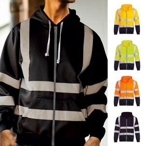 Herren Signalfarbe Sichtbarkeit Kapuzenjacke Sicherheit Arbeitskleidung Pullover