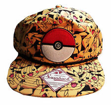 Pokemon POKEBALL PIKACHU All Over Logo Adjustable Snapback Cap/Hat