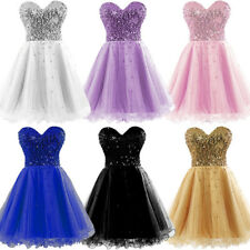 Girls Short Prom Ball Cocktail Summer Sequins Dresses Mini Bridesmaid Party Gown