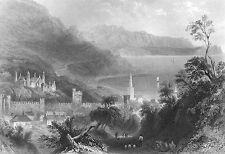Ireland GLENARM BAY CASTLE SAINT PATRICH CHURCH ANTRIM, 1839 Art Print Engraving