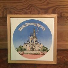 Vintage Walt Disney World Cinderella's Castle Framed Ceramic Tile Made In Japan
