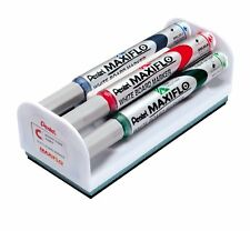 Pentel Maxiflo Medium Dry Wipe Markers & Magnetic Eraser Set - Bullet Tip