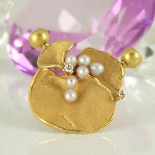 Brosche Anhänger Perlenschließe 585 Gelbgold 14K mit Süßwasserperlen Diamanten
